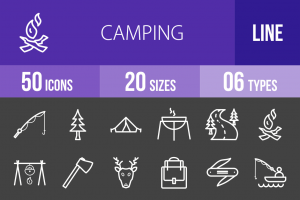 50 Camping Line Inverted Icons - Overview - IconBunny
