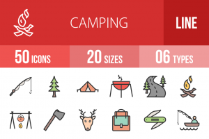 50 Camping Line Multicolor Filled Icons - Overview - IconBunny