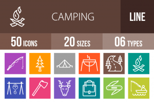 50 Camping Line Multicolor B/G Icons - Overview - IconBunny