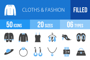 50 Clothes & Fashion Blue & Black Icons - Overview - IconBunny