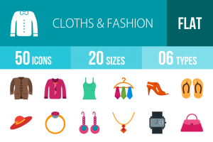 50 Clothes & Fashion Flat Multicolor Icons - Overview - IconBunny