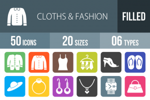 50 Clothes & Fashion Flat Round Corner Icons - Overview - IconBunny