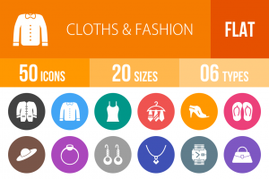 50 Clothes & Fashion Flat Round Icons - Overview - IconBunny