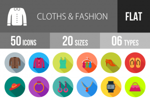 50 Clothes & Fashion Flat Shadowed Icons - Overview - IconBunny
