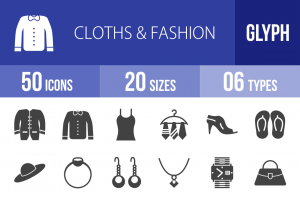 50 Clothes & Fashion Glyph Icons - Overview - IconBunny