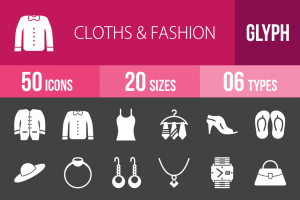 50 Clothes & Fashion Glyph Inverted Icons - Overview - IconBunny