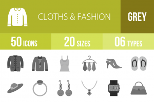50 Clothes & Fashion Greyscale Icons - Overview - IconBunny