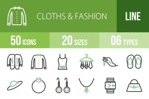 50 Clothes & Fashion Line Green & Black Icons - Overview - IconBunny