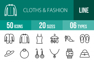 50 Clothes & Fashion Line Icons - Overview - IconBunny
