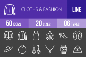 50 Clothes & Fashion Line Inverted Icons - Overview - IconBunny