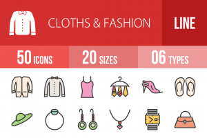50 Clothes & Fashion Line Multicolor Filled Icons - Overview - IconBunny
