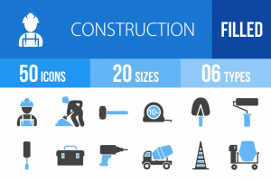 50 Construction Blue & Black Icons - Overview - IconBunny