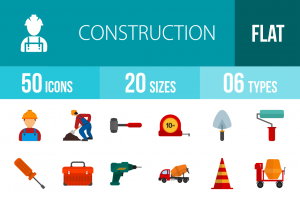 50 Construction Flat Multicolor Icons - Overview - IconBunny