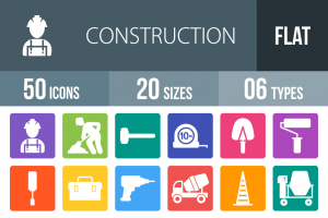 50 Construction Flat Round Corner Icons - Overview - IconBunny