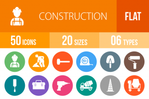 50 Construction Flat Round Icons - Overview - IconBunny