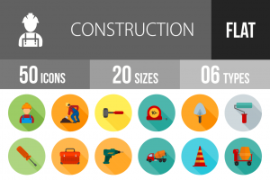 50 Construction Flat Shadowed Icons - Overview - IconBunny