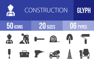 50 Construction Glyph Icons - Overview - IconBunny