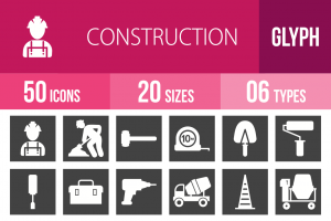 50 Construction Glyph Inverted Icons - Overview - IconBunny