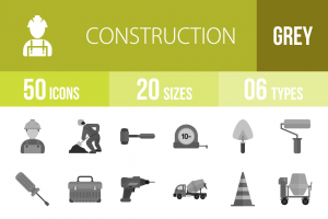50 Construction Greyscale Icons - Overview - IconBunny