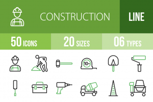 50 Construction Line Green & Black Icons - Overview - IconBunny