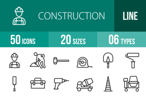 50 Construction Line Icons - Overview - IconBunny