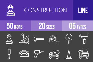 50 Construction Line Inverted Icons - Overview - IconBunny