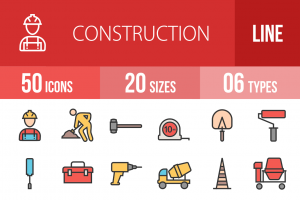 50 Construction Line Multicolor Filled Icons - Overview - IconBunny