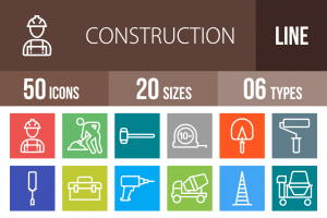 50 Construction Line Multicolor B/G Icons - Overview - IconBunny