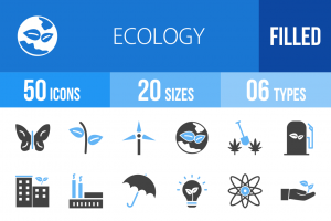 50 Ecology Blue Black Icons - Overview - IconBunny