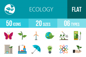 50 Ecology Flat Multicolor Icons - Overview - IconBunny