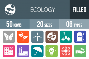 50 Ecology Flat Round Corner Icons - Overview - IconBunny