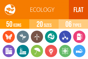 50 Ecology Flat Round Icons - Overview - IconBunny