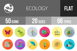 50 Ecology Flat Shadowed Icons - Overview - IconBunny