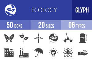 50 Ecology Glyph Icons - Overview - IconBunny