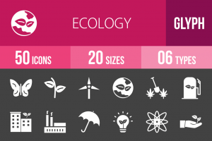 50 Ecology Glyph Inverted Icons - Overview - IconBunny