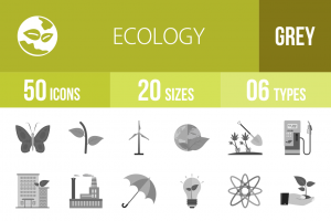 50 Ecology Greyscale Icons - Overview - IconBunny