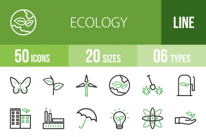 50 Ecology Line Green Black Icons - Overview - IconBunny