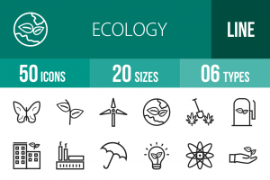 50 Ecology Line Icons - Overview - IconBunny