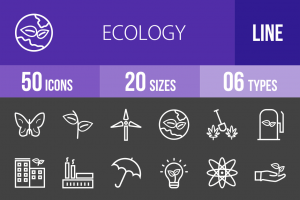 50 Ecology Line Inverted Icons - Overview - IconBunny