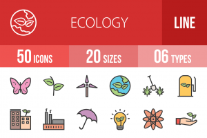 50 Ecology Line Multicolor Filled Icons - Overview - IconBunny