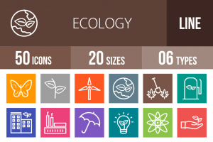 50 Ecology Line Multicolor B/G Icons - Overview - IconBunny