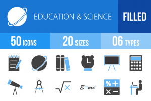 50 Education & Science Blue & Black Icons - Overview - IconBunny