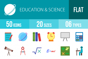 50 Education & Science Flat Multicolor Icons - Overview - IconBunny