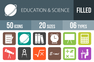 50 Education & Science Flat Round Corner Icons - Overview - IconBunny
