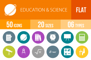 50 Education & Science Flat Round Icons - Overview - IconBunny
