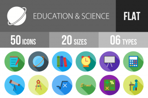 50 Education & Science Flat Shadowed Icons - Overview - IconBunny
