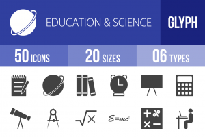 50 Education & Science Glyph Icons - Overview - IconBunny