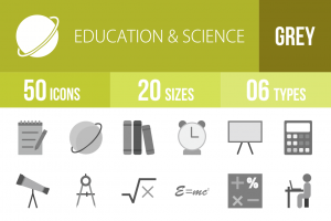 50 Education & Science Greyscale Icons - Overview - IconBunny