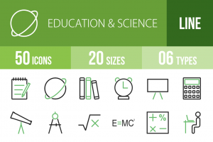 50 Education & Science Line Green & Black Icons - Overview - IconBunny