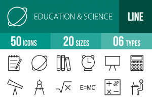 50 Education & Science Line Icons - Overview - IconBunny